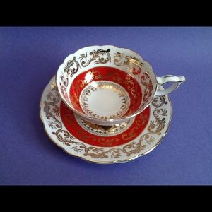Royal Stafford Gold Design Red Teacup Duo